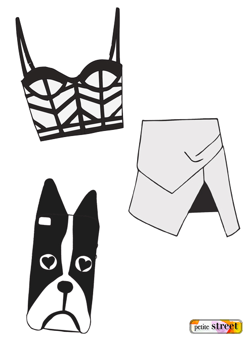 petite street - sass & bide bustier bra, Manning Cartell Silver Whistle skirt, Marc by Marc Jacobs Shorty dog iPhone case illustration