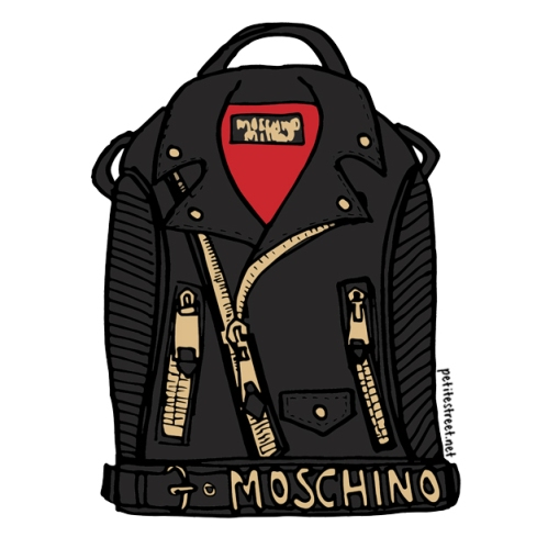 petite street: Jeremy Scott x Moschino leather biker jacket backpack illustration