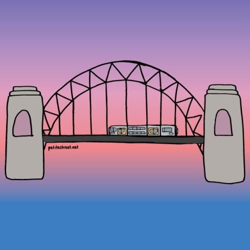 petite street drawing of train on Sydney harbour bridge